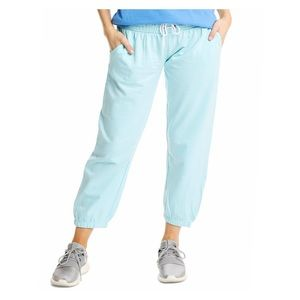 100% Cotton Blue Cropped Lounge Pants Joggers NWT